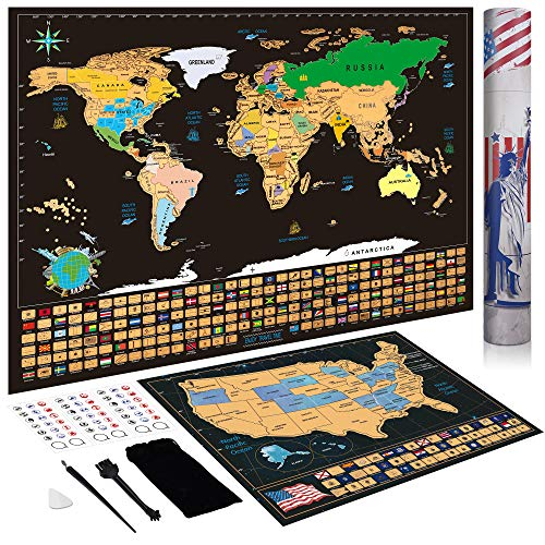 Scratch Off Map Art Gifts, Scratch Off Map of The World + Scratch Off Map of United States Wall Art Gift for Travelers Christmas Gifts Stocking Stuffers for Women Men Teens Boys Girls