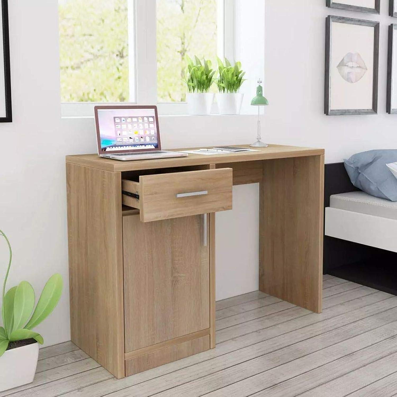 Tidyard- Schreibtisch Computertisch mit Schublade und Schrank Lernen Holztisch Arbeitstisch PC Tisch Bürotisch für Büro Arbeitszimmer Kinderzimmer Eiche 100x40x73 cm