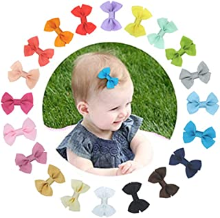 Excefore Hair Bows 20Pcs Grosgrain Ribbon Baby Girls Hair Bows Barrettes Clip Holders Accessories For Toddler Teens Girls