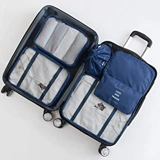 Portable Packing Cubes 6 PCS Travel Luggage Organizers Lightweight Storage Zip Bags Durable (Pink) QDDSP (Color : E)