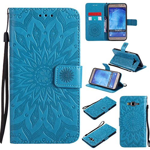 Galaxy J7 (2015) Case,Embossed Flip Cover with Inner Soft Bumper Shockproof Wallet Shell Cover with Magnetic Closure Xmas Birthday Gift for Girl Lady for Samsung Galaxy J7 (2015) -Sunflower Blue
