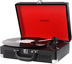 Vinyl Record Player JORLAI Turntable, 3 Speed Bluetooth Record Player Suitcase with Built in Speakers/ Rechargable Battery/ Vinyl-to-MP3 Recording/ Headphone Jack/ Aux Input/ RCA Line Out (Black)