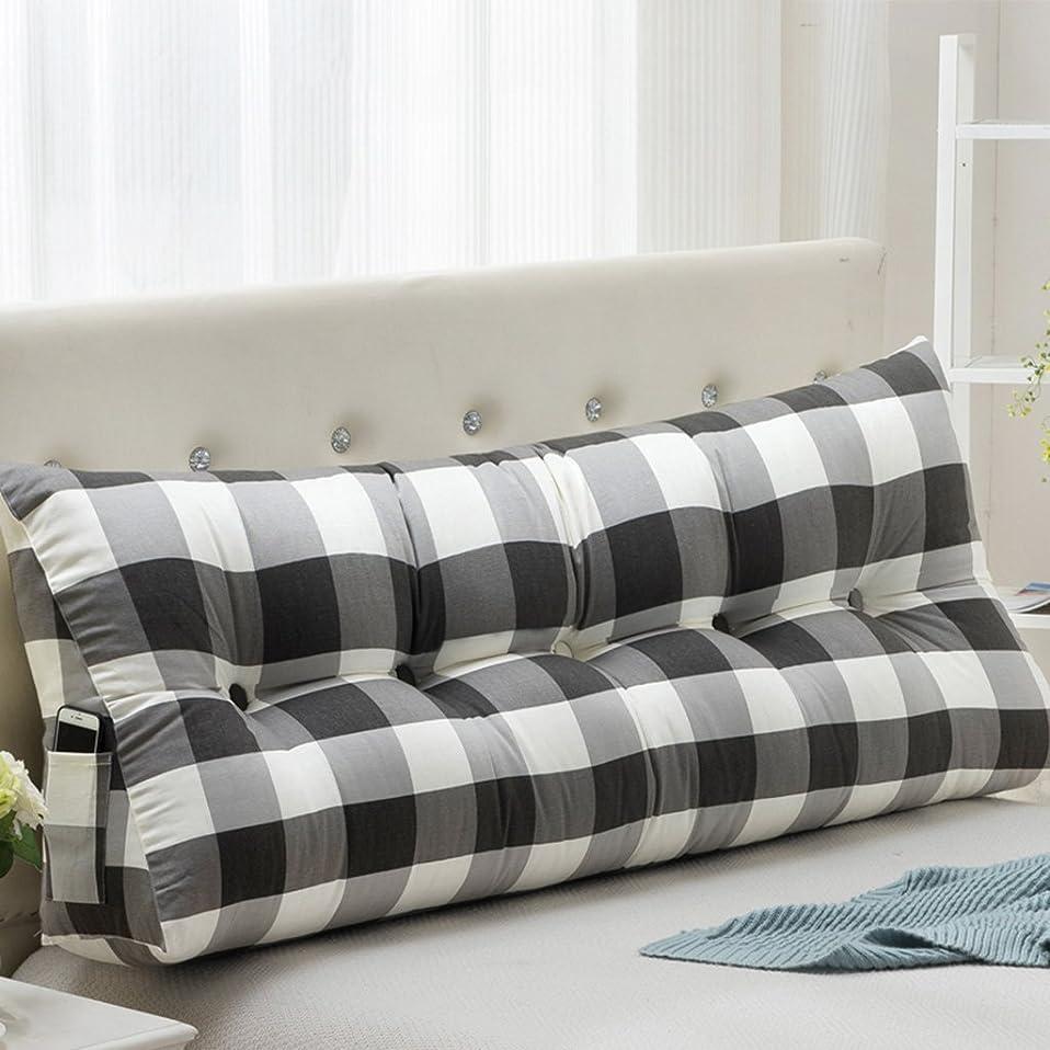 マットレス禁輸トランジスタTJTJ ファッション枕キャンバスレイドベッドサイドクッション枕取り外しヘッドボードバックレスト (Color : A, サイズ : 22*50*60cm)
