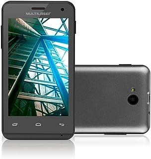 Smartphone Multilaser MS40 Cor Preta Tela 4  Câmera 2 MP + 5 MP 3G Quad Core 4GB Android 4.4 - P9007 NB226
