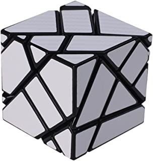 I-xun Newest Type Ghost Mirror Cube 3x3x3 Sticker Puzzle Cube Mirror Cube(Silver Black)