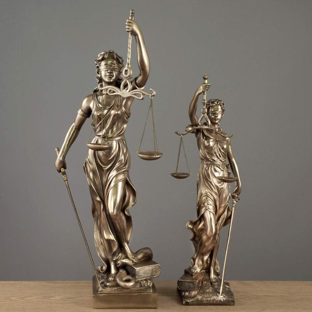 LUNAH Statue de Justice de Dame en Bronze d/éesse Romaine de la Loi Sculpture Premium Fonte /à Froid Figurine Artisanat Art Ornements d/écor /à la Maison r/éplique-a S