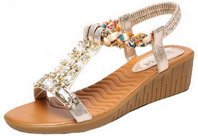 WeenFashion Women's Open-Toe Blend Materials Elastic Sandals, CA18LA03640