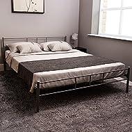 Vida Designs Dorset King Size Bed Frame, 5 ft Metal Bed Frame Bedroom Furniture, Silver