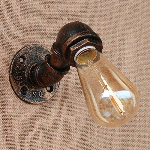 MBLYW Moderno LED Lámpara de pared Viento de forja industrial tubo de hierro dormitorio creativo pasarela puerta exterior café lámpara de pared decorativa retro, modelos C con fuente de luz LED