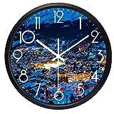 LIMN Reloj de Pared por la Noche Ciudad de Suiza Ver Reloj de Pared Imagen Real Diseño Reloj de Pared Originalidad Reloj silencioso