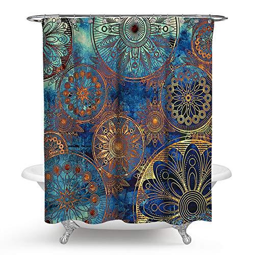 Riyidecor Mandala Indian Bohemian Shower Curtain Paisley Purple Floral Boho Y...