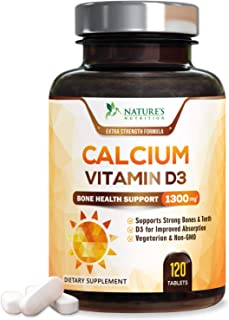 Calcium Supplement with Vitamin D3 - High Potency Calcium Carbonate 1300mg - Made in USA - Calcium to Support Bone Health ...