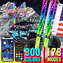 Adust LED Whip Lights for UTV Dune Buggy 2PCS 5FT, Spiral RGB, 300 Colors, 178 Modes, Bluetooth Remote Control, Waterproof IP67 for Can-Am ATV UTV RZR Polaris Dune Buggy Offroad Truck Accessories