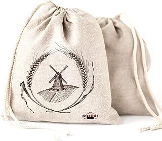 Linen Bread Bags - 2-Pack 11 x 15 Speical Art Design Natural Unbleached Linen Reusable Food Safe Storage for Homemade Artisan Bread