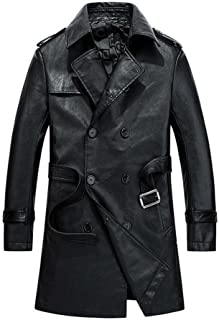 Men's Faux Leather Double Breasted Long Trench Coats with Belt