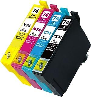 IC4CL74(BK/C/M/Y) エプソン用インクカートリッジ 4色パック 互換インク (最新ICチップ搭載/残量検知対応/デジタル説明書付き(QR)) 対応機種:PX-M5040C6 PX-M5040C7 PX-M5040F PX-M504...