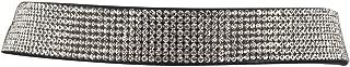 Black Suede Crystal Pave Rhinestone 8 Row Choker Necklace