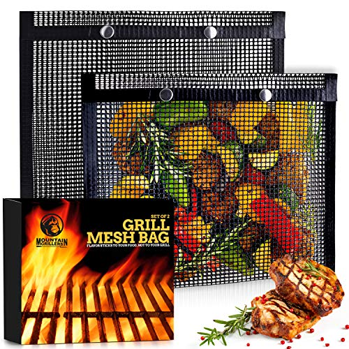 BBQ Mesh Grill Bags - 12 x 9.5 Inch Reusable Grilling Pouches for Charcoal, Gas, Electric Grills & Smokers - Heat-Resistant, Non-Stick Barbecue Bag is a Must-Have for All Pitmasters - Set of 2