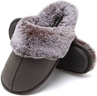 CIOR Women's Memory Foam Slippers Faux Fur Lining Slip-on Clog Scuff House Shoes Indoor & Outdoor