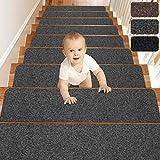 MATAHUM Stair Treads Carpet Non-Slip for Runner Wood Stairs Covers (15-Pack) Indoor for Dogs Elders and Kids, 8''X30'', Gray