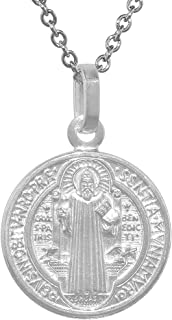 Sterling Silver St Benedict Medal 3/4 inch Round Italy 0.8mm Chain