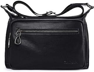 Men's Leather Diagonal Bag, Shoulder Square Bag (Color : Black, Size : S)