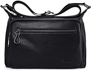Men's Leather Diagonal Bag, Shoulder Square Bag (Color : Black, Size : S)