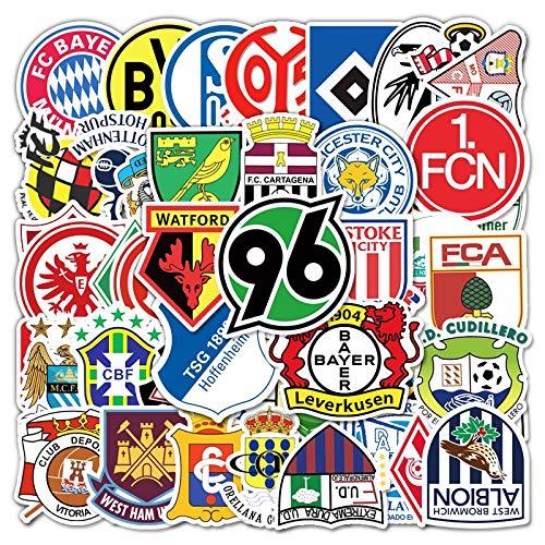 JZLMF Berühmte Fußballmannschaft Logo Aufkleber Hannover 96 Nürnberg Mode Cartoon Graffiti Dekor für Auto Wandgitarre Kinderspielzeug 50 STK
