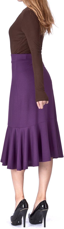 Dani's Choice Flowy Elastic Waist Frilled Hem Fish Tail Mermaid Flared Midi Skirt