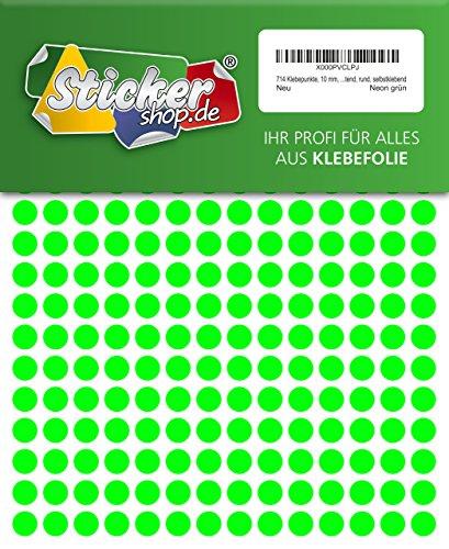 714 Klebepunkte, 10 mm, Markierungspunkte, Punkt, PVC, Vinyl, Folie, Neon, grün, leuchtend, rund, selbstklebend