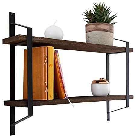 Amazon Com Decorative 2 Tier Floating Shelves Rustic Wall Storage Made Of Sturdy Paulownia Wood W Coated Steel Brackets Wooden Shelves For Bathroom Living Room Kitchen More Brown Kitchen Dining