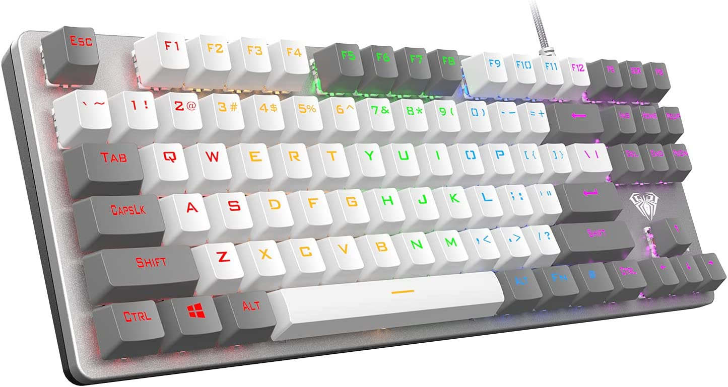 AULA F3287 Wired TKL Rainbow Mechanical Gaming Keyboard, 80% Compact Tenkeyless 87 Keys Layout w/Linear Red Switches, White & Grey Mixed-Color Keycaps, Programmable Macro Keys