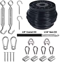 Wire Rope, Vinyl Coated Cable, String Light Hanging Kit 304 Stainless Steel Cable for Outdoor Lights 1/16-Inch Thru 1/8-Inch, Include 145 FT Wire Rope Cable,Turnbuckle and Hooks