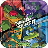 Amscan 552209 AM Teenage Mutant 8 Papierteller Ninja Turtles eckig, Mehrfarbig