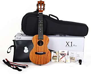 Enya Concert Ukulele 23 Inch, Mahogany and Ebony – With Starter Kit Includes Online Lessons, Case, Strap, Strings, Capo, Sand Shaker, Picks, Polish Cloth (EUC-X1)
