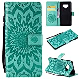 SMYTU Galalxy Note 9 Wallet Case, Premium Emboss Sunflower Pattern Flip Wallet Shell PU Leather Magnetic Cover Skin with Wrist Strap Case Samsung Galalxy Note 9 (Green)