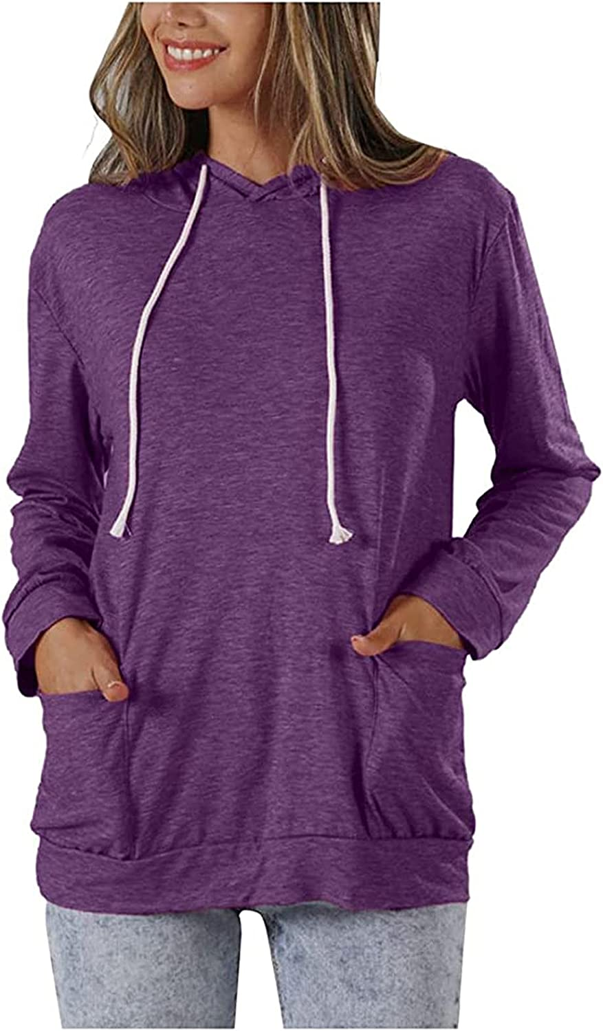 Fashion Hooded Pullover Tops for Women's Solid Color Long Sleeve Comfortable Breathable Crewneck Sweatshirt Blouse