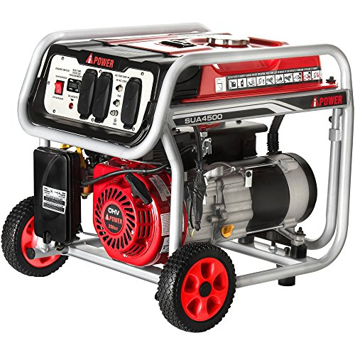 A-iPower SUA4500 4500 Watt Portable Generator Gas Powered Wheel Kit Included, Rated Watt/3500...