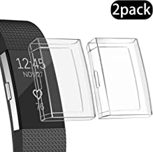 Ultra Slim Soft Full Cover Case for Fitbit Charge 2, Crystal,Opretty TPU Protective Cases Frame Shockproof Cover Shell Accessories for Fitbit Charge 2 Smart Watch (Clear 2Pcs)