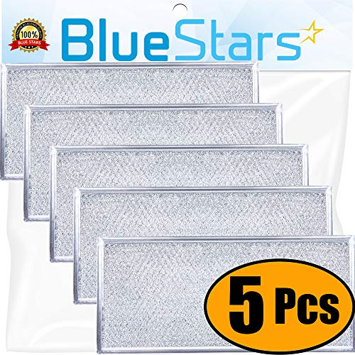 "Ultra Durable W10208631A Filter Aluminum Mesh Microwave Grease Filter Approx. 13"" x 6"" by Blue Stars - Exact Fit for Whirlpool & Maytag Microwaves - Replaces AP5617368 W10208631 PS3650910 - PACK OF 5"