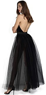 Women's 4 Layers Tulle Special Occasion Skirt Overskirt Floor Length Tutu for Wedding Party