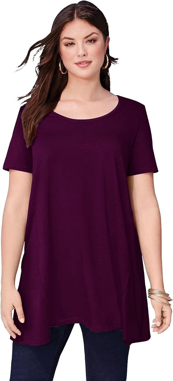 Roaman's Women's Plus Size Scoopneck Maxi Tunic Long Shirt