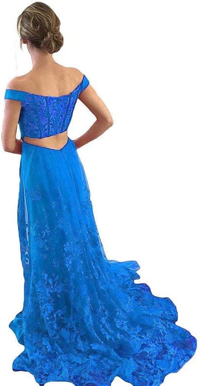 EEFZL Women's Off Shoulder Satin Prom Dresses Long Slit Tulle Applique Formal Evening Gown