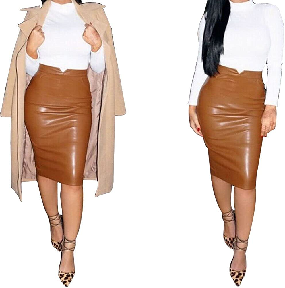 Amybria Women's Leather Slim Evening Party Bodycon Skirt Coffee