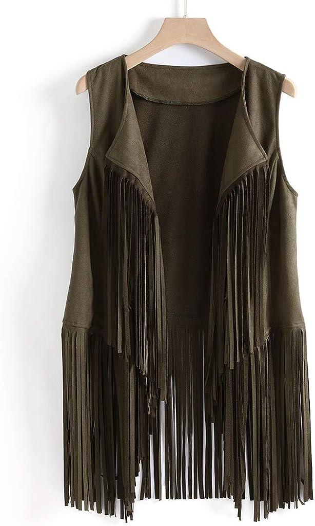 iQKA Fringe Vest for Women, Faux Suede Leather Cowboy Style Vest Sleeveless Tassels Cardigan Waistcoat