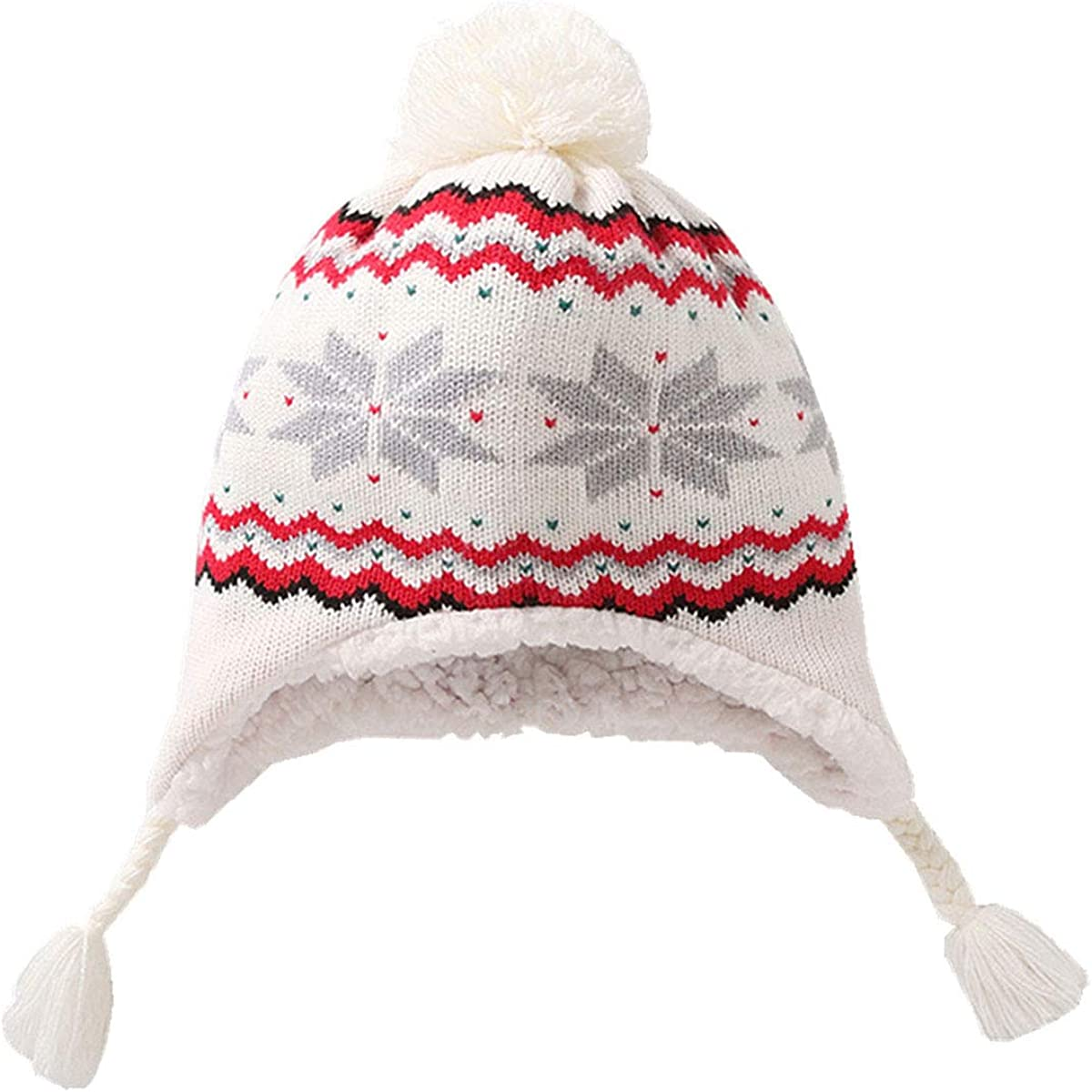 FUOITA Baby Winter Hat Girl Boy Beanie with Pompom Warm Knitted Caps