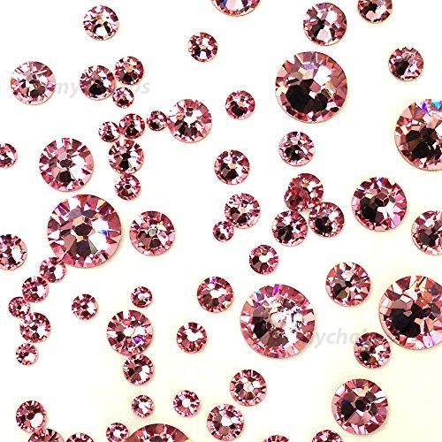 Light Rose (223) Pink 144 pcs Swarovski 2058/2088 Crystal Flatbacks Pink Rhinestones Nail Art Mixed with Sizes ss5, ss7, ss9, ss12, ss16, ss20, ss30