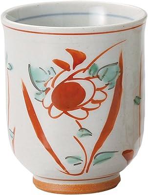 山下工芸 湯呑み 陶器 φ7.4×9cm(190cc) 赤絵花鳥湯呑 大 15024640