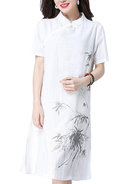 [美しいです]  女性 ワンピース 民族風 短袖 花柄 スタンド プリント 綿麻 夏  Aライン コード