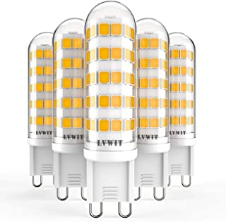LVWIT Bombillas LED G9-4.5W equivalente a 50W, 500 lúmenes, Color blanco neutro 3000K, Sin efecto flash. No regulable - Pack de 5 Unidades.
